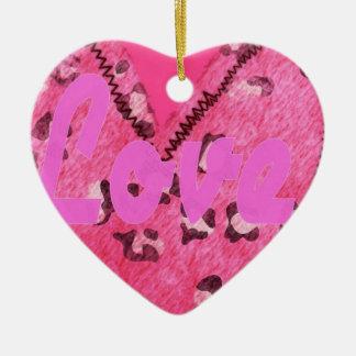 Love Pink Heart Ceramic Ornament