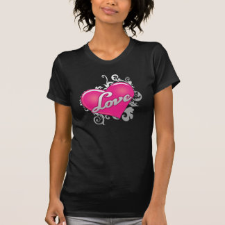 Love Pink Heart Ladies Casual Scoop T-Shirt