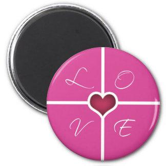LOVE Pink heart Magnet