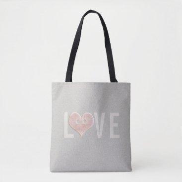 Beach Themed LOVE & Pink Heart | Tote Bag