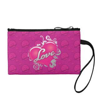 Love Pink Heart Wristlet