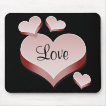 Love Pink Hearts on Black Background Mousepad