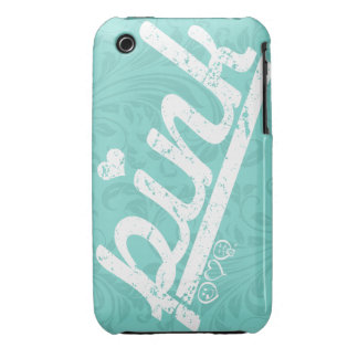 love pink on teal blue floral damask iPhone 3 covers