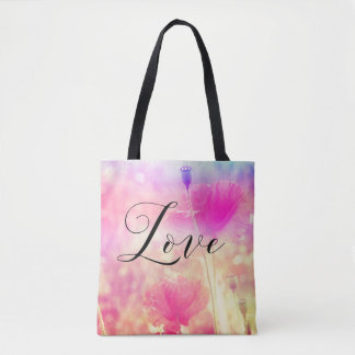 Love, pink poppies meadow,  tote bag with text