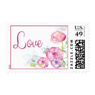 Love Pink & Purple Flower Watercolor Stamps