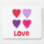 Love Pink Red and Purple Hearts Mouse Mat