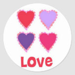 Love Pink Red and Purple Hearts Stickers
