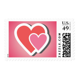 Love Pink & Red Hearts Wedding Stamps