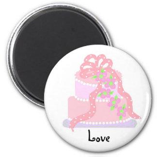 Love - Pink Ribbon Cake Fridge Magnet