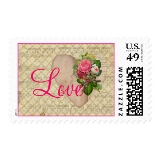 Love Pink Roses on Heart with Golden Trellis Postage