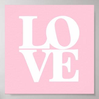Love pink white nursery poster