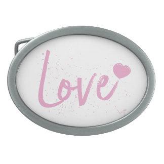 Love-PinkText Design Oval Belt Buckle