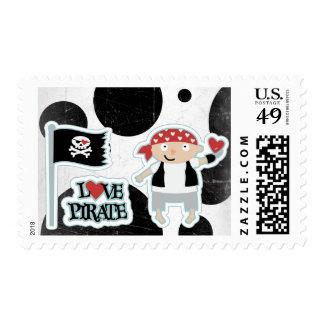 Love Pirates White and Black Circles Stamp