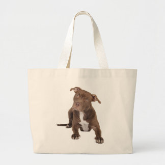 Love Pit Bull Puppy Dog Canvas Totebag Large Tote Bag