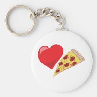 Love Pizza!  Customizable: Basic Round Button Keychain