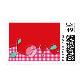 Love Plaid Checks Loop Retro Cute Valentine's Day Postage Stamp