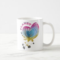 planet, love, art, graphic, design, cute, eco, nature, pop, heart, illustration, luv, earth, Mug with custom graphic design