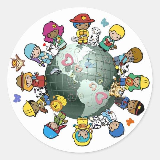 Love Planet Earth: Unite for Peace Classic Round Sticker