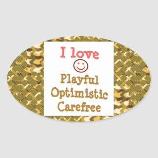 LOVE Playful OPTIMISTIC Carefree LOWPRICE Gifts Oval Stickers