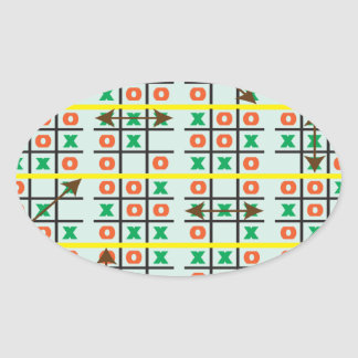 Love Playing Tic Tac Toe.ai Oval Stickers