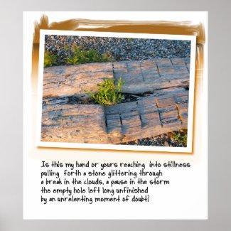 Love Poem and Log on Beach print