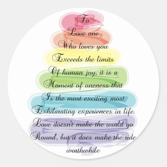"""Love"" Poem Gifts Artsy Tree Design Classic Round Sticker"
