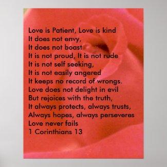 LOVE POEM ON RED ROSE POSTER