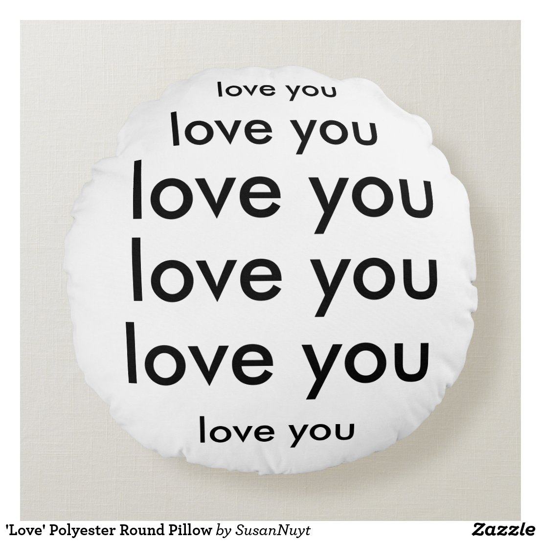 'Love' Polyester Round Pillow