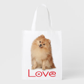 Love Pomeranian Puppy Dog Grocery Tote