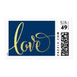 LOVE POSTAGE modern typography script gold navy