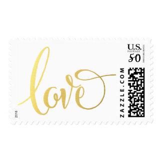 LOVE POSTAGE modern typography script gold type