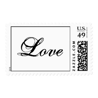Love Postage Stamp Black and White