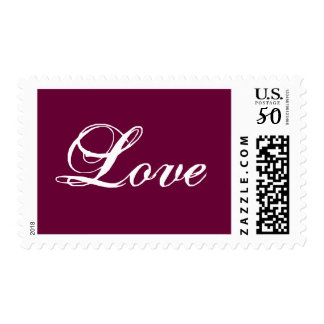 Love Postage Stamp_White on Wine