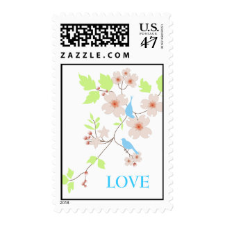LOVE postage stamps blue birds on dogwood branches