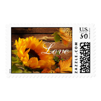 Love Postage Stamps, Rustic Country Fall Sunflower