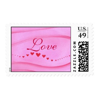 Love postage stamps, wave of red hearts on pink