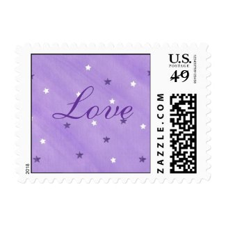 Love postage stamps with purple and white stars