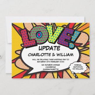 LOVE Postponed Change of Date Comic Book Pop Art Save The Date