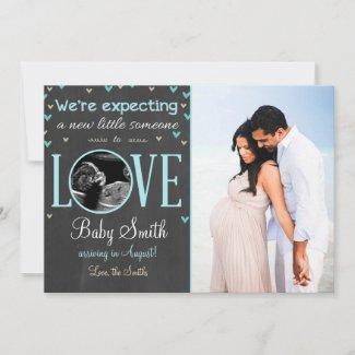 Love Pregnancy Announcement Ultrasound Blue Boy