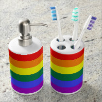 love pride rainbow lotion toothbrush soap dispenser and toothbrush holder