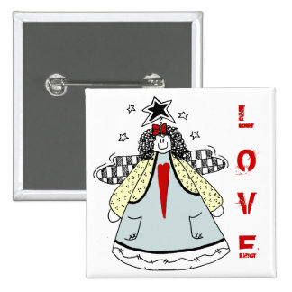 LOVE Primitive Angel with Heart Country Doodle Button