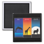 Love, Protect and Cherish Animals 2 Inch Square Magnet