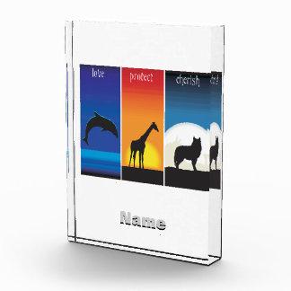 Love, Protect and Cherish Animals Acrylic Award
