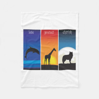 Love, Protect and Cherish Animals Fleece Blanket