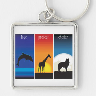Love, Protect and Cherish Animals Keychain