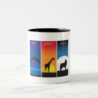 Love, Protect and Cherish Animals Two-Tone Coffee Mug