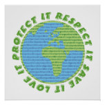 Love, protect, respect, save the planet earth poster