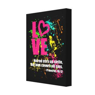 Love Proverbs Bible Verse Neon Paint Splatter Canvas Print