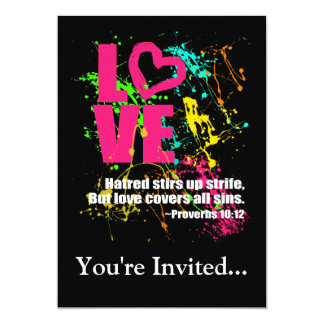 Love Proverbs Bible Verse Neon Paint Splatter Card