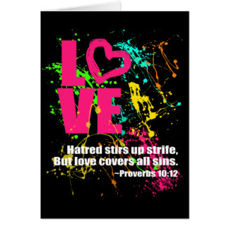 Love Proverbs Bible Verse Neon Paint Splatter Greeting Card